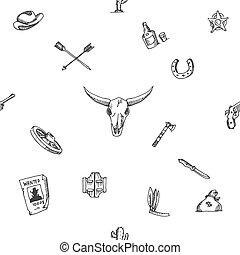 oeste selvagem, esboço, desenho, padrão