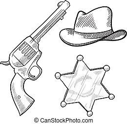 oeste selvagem, esboço, objetos, xerife