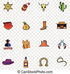 oeste selvagem, jogo, ícones