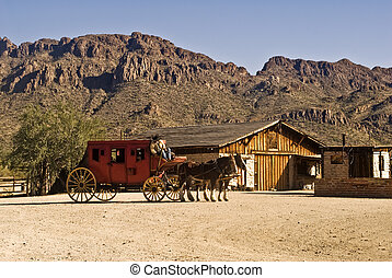 oeste, stagecoach, antigas