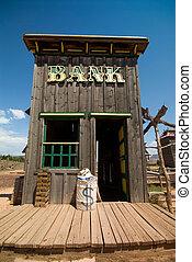 oeste viejo, banco, edificio