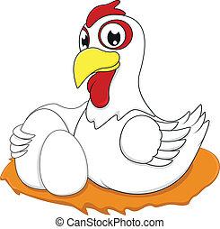 oeuf blanc, poulet