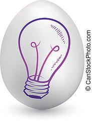 oeuf de pâques, ampoule, lumière, idée