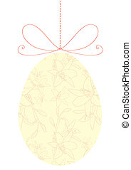 oeuf de pâques, jaune, floral