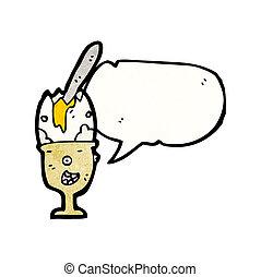 oeuf, eggcup, caractère, dessin animé