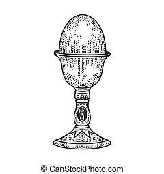 oeuf, eggcup, stand, blanc, imitation., image., illustration...