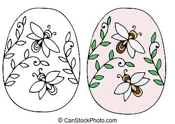 oeuf, feuilles, abeille, dessiné, main, paques