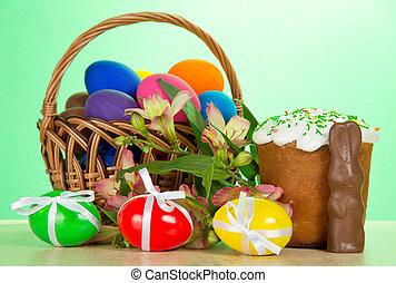 oeufs, alstromeria, panier, lapin, paques, gâteau