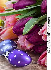 oeufs, bouquet, tulipes, paques