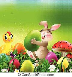 oeufs, champ, lapin, poulet bébé, paques, dessin animé