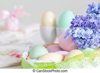 oeufs, fleur, paques, coloré