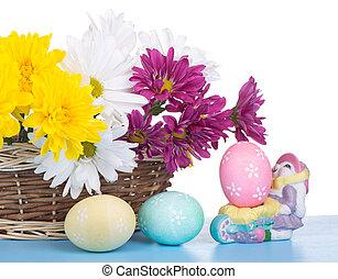 oeufs, fleurs, paques