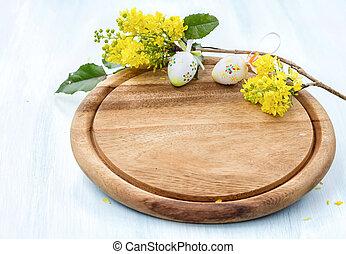 oeufs, floraison, découpage, planche, branche, Paques