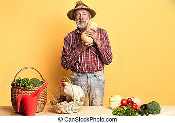 oeufs, haut, grand-père, fresh-laid, choisi, panier, frais, récolte