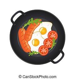oeufs, illustration., salade verte, saucisses, sommet, champignons, isolé, arrière-plan., chaud, vecteur, moule, friture, vue., frit, blanc, tomates