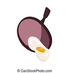 oeufs, ingrédients, illustration., moule, vecteur, poignée, nourriture, frit