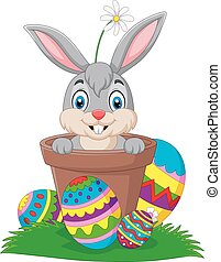 oeufs, lapin, dessin animé, herbe, paques, pot