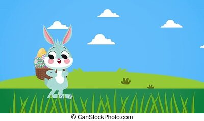 oeufs, marche, mignon, panier, heureux, jour, lapin pâques
