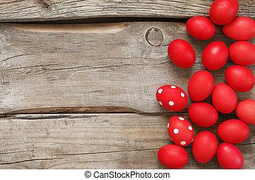 oeufs pâques, bois, vieux, rouges