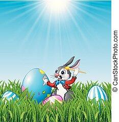 oeufs pâques, dessin animé, herbe, peinture, lapin
