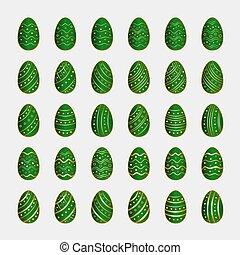 oeufs pâques, ensemble, vert, icônes