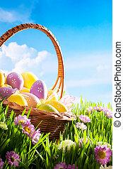 oeufs pâques, fleur, herbe, décoré
