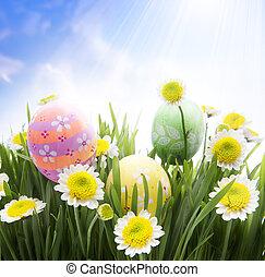oeufs pâques, herbe, art, décoré