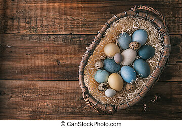 oeufs pâques, naturel, coloré, teintures