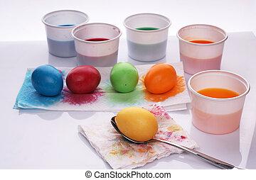 oeufs, paques, coloré