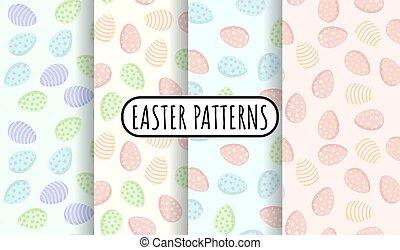 oeufs, patterns., plat, texture, paques, tuiles, coloré, ...