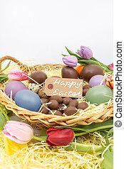 oeufs, tulipes, chocolat, texte, panier, paques, heureux