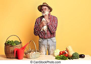 oeufs, vieux, stands, légumes, étreint, paysan, panier, poule, amical