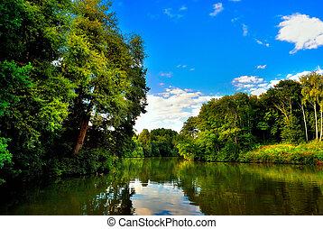 oevers, rivier, groene