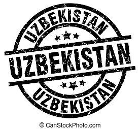 oezbekistan, black , ronde, grunge, postzegel