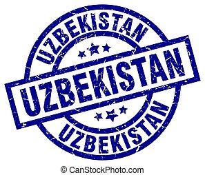 oezbekistan, blauwe , ronde, grunge, postzegel