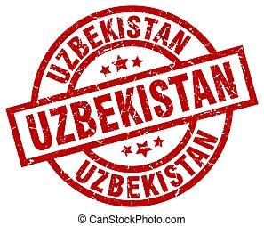 oezbekistan, rood, ronde, grunge, postzegel