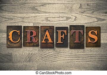 ofícios, conceito, madeira, letterpress, tipo