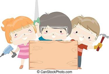 ofícios, madeira, tábua, ilustração, crianças