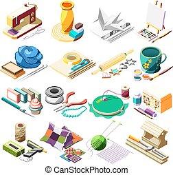 ofícios, passatempo, isometric, jogo, ícones