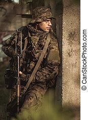 oförfärad, soldat, i aktion