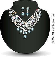 of a Golden necklace female with white precious stones -...