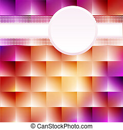 of a pink background with squares and circles for text