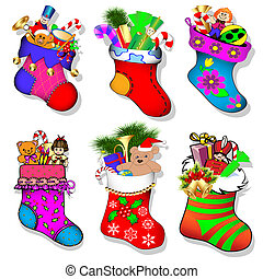 of a set of socks with gifts for Christmas - illustration of...