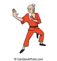 of, beoefenen, fu, shaolin, illustratie, wushu., vrijstaand, monnik, krijgshaftig, vector, achtergrond., oud, witte , art., meester, kung