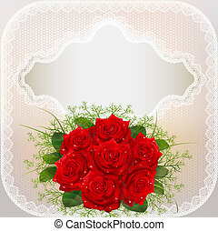 of card with red roses and lace