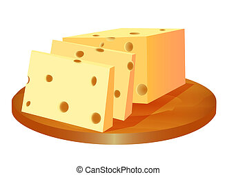 of cheese cut in the board - illustration of cheese cut in...