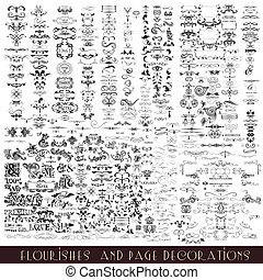 of, communie, calligraphic, decoratief, flourishes, set, ...