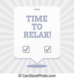 of, concept, woord, zakelijk, tekst, studeren, tijd, relax., schrijvende , breken, moment, ontspanning, werken, leisure.