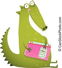 of, dinosaurus, boek, draak, lezende , spotprent