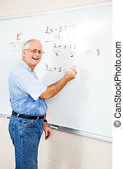 of, ed, vriendelijk, leraar, volwassen student